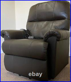 Luxury Electric Riser Rise Recliner Dual Motor Brown Leather Chair Can Deliver